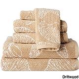 #10: Revere Mills The Shore 6-Piece Jacquard Shell Towel Set Taupe