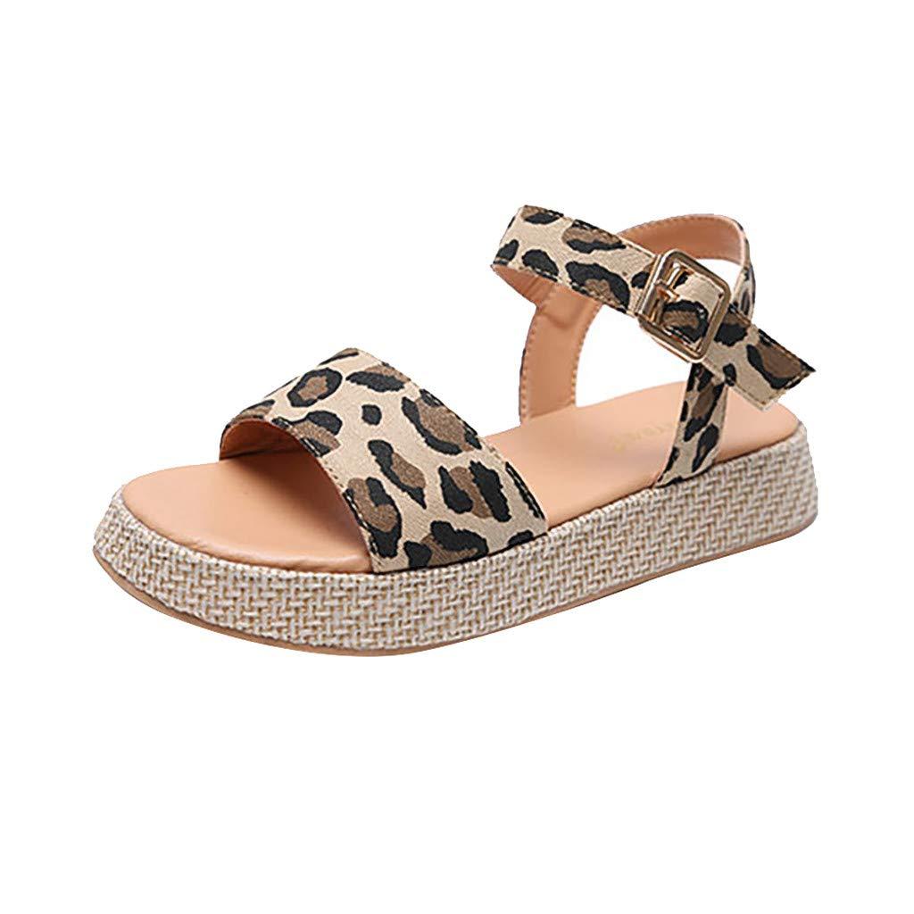 Orangeskycn Women Sandals Ladies Summer Leopard Print Thick Bottom Buckle Strap Solid Color Flat Causal Sandals Plus Size Brown