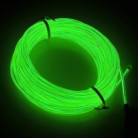 Azul, 3m Amicc Neon Light Elon port/átil con bater/ía Neon Glowing Strobing Electroluminiscente para fiestas decoraci/ón de Halloween