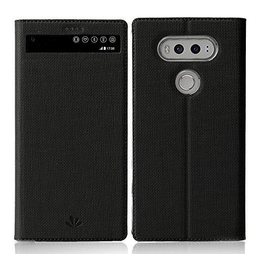 LG V20 case ,Feitenn Premium Flip Leather PU Wallet View Window Smart Case Stand Kicstand Card Holder Magnetic Closure TPU Bumper Slim fit cover case for LG V20 (Black)