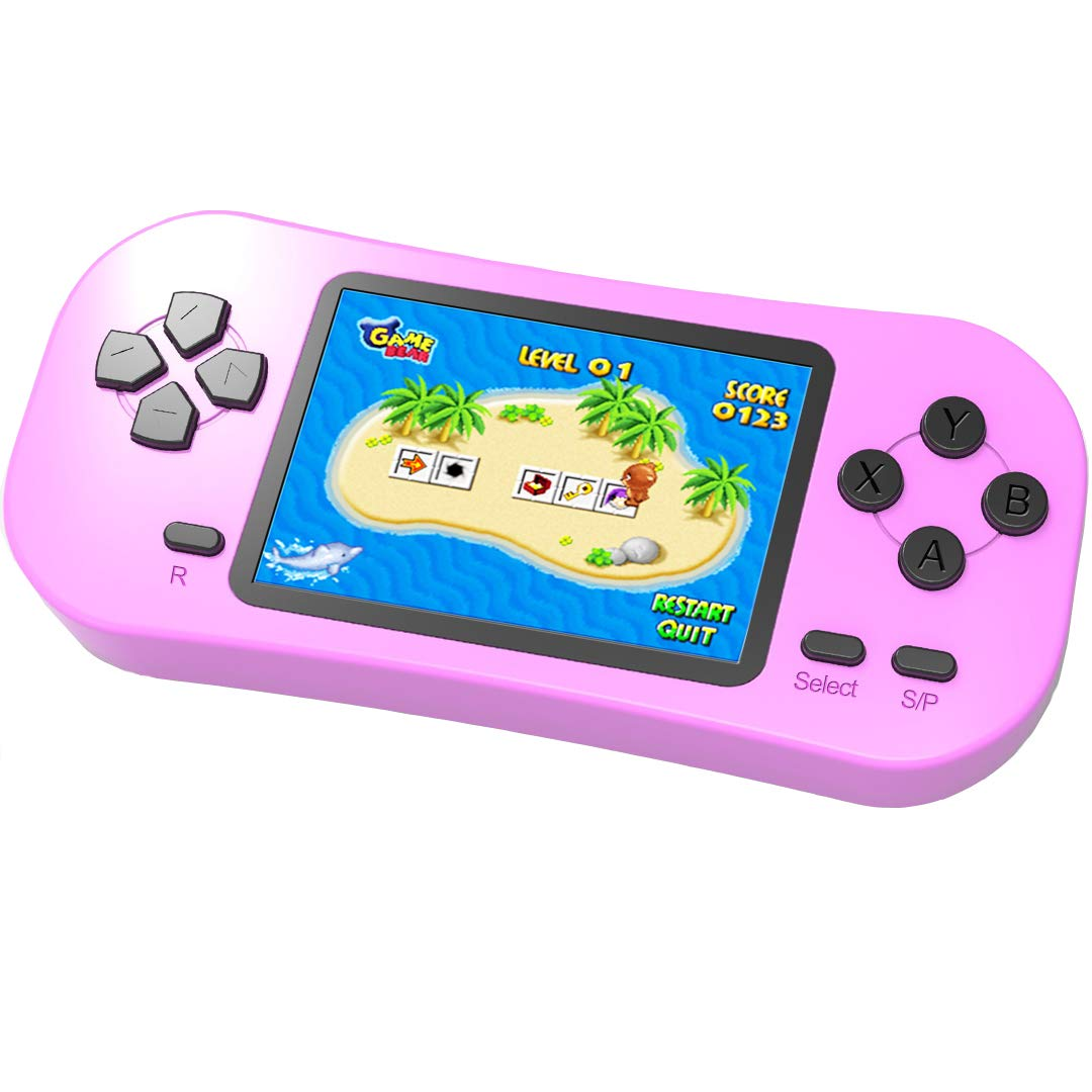 Beijue Retro Handheld Games for Kids Built in 218 Classic Old Style Electronic Game 2.5'' Screen 3.5MM Earphone Jack USB Rechargeable Portable Video Player Children Travel Holiday Entertain (Pink) by Beijue