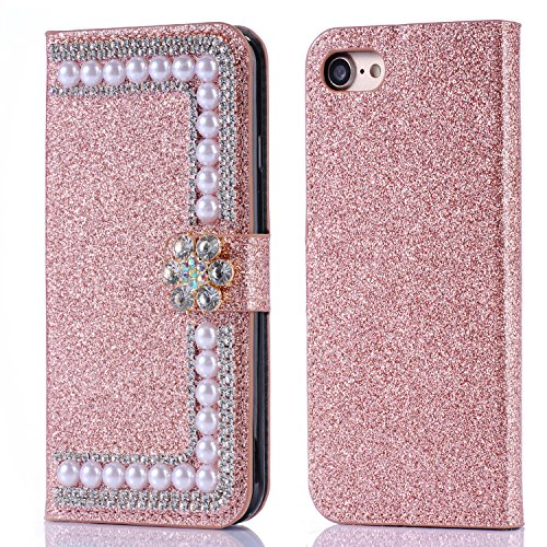 iphone 7 Plus Wallet Case,iphone 8 Plus Wallet Case,Auker Bling Glitter Flip Flop Vintage Leather Slim Thin Fold Stand Purse Case with Sparkle Flower Magnetic Closure/Card Holder/Cash Pocket Rose Gold Vintage Gold Sparkle