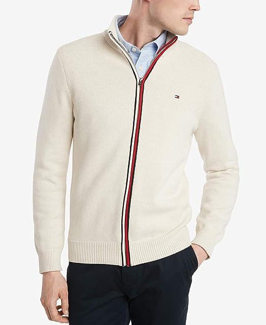 Tommy Hilfiger Full Zip Mens Cardigan Jumper Top Jacket Large