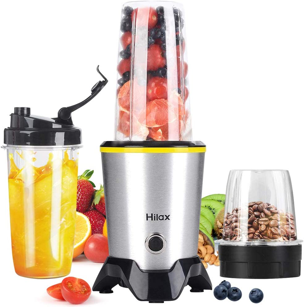 Portable Personal Smoothie Blender, Hilax 1000W High Speed Shake Blender Coffee Grinder with 2-Set Blades for Fruits Baby Food Vegetables Beans, Two Tritan BPA-Free Bottle(35+14oz)