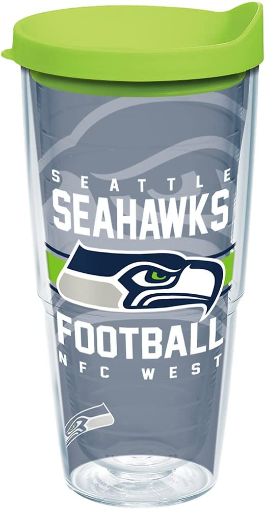 Tervis NFL Seattle Seahawks Gridiron Tumbler with Wrap and Lime Green Lid 24oz, Clear