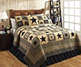 Black and Tan Comforter Sets King Colonial Star Black and Tan Primitive Country Quilt Set - 3 Piece (King (3 pc))