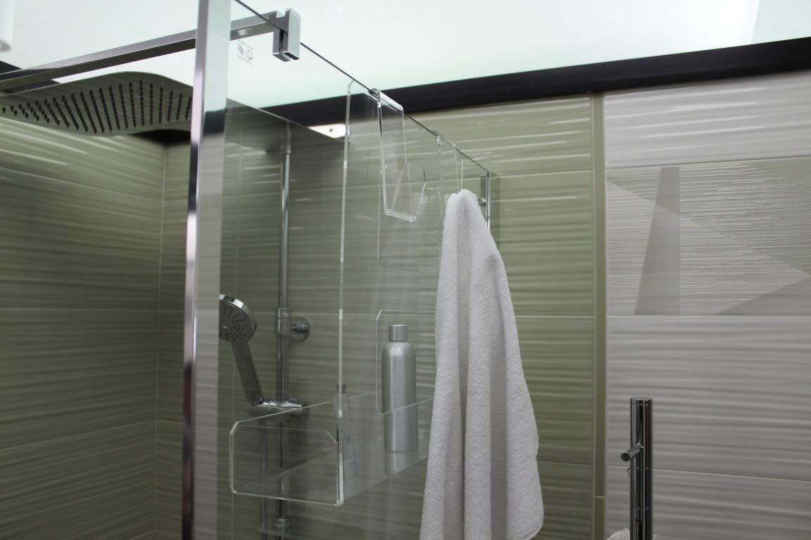 Jabonera de ducha de plexiglás con 2 ganchos para toallas - Estante para ducha - Cesta de colgar: Amazon.es: Handmade