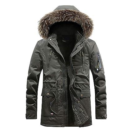 Qiusa Chaqueta de Abrigo para Hombre, de Invierno, de Forro Polar cálido, más