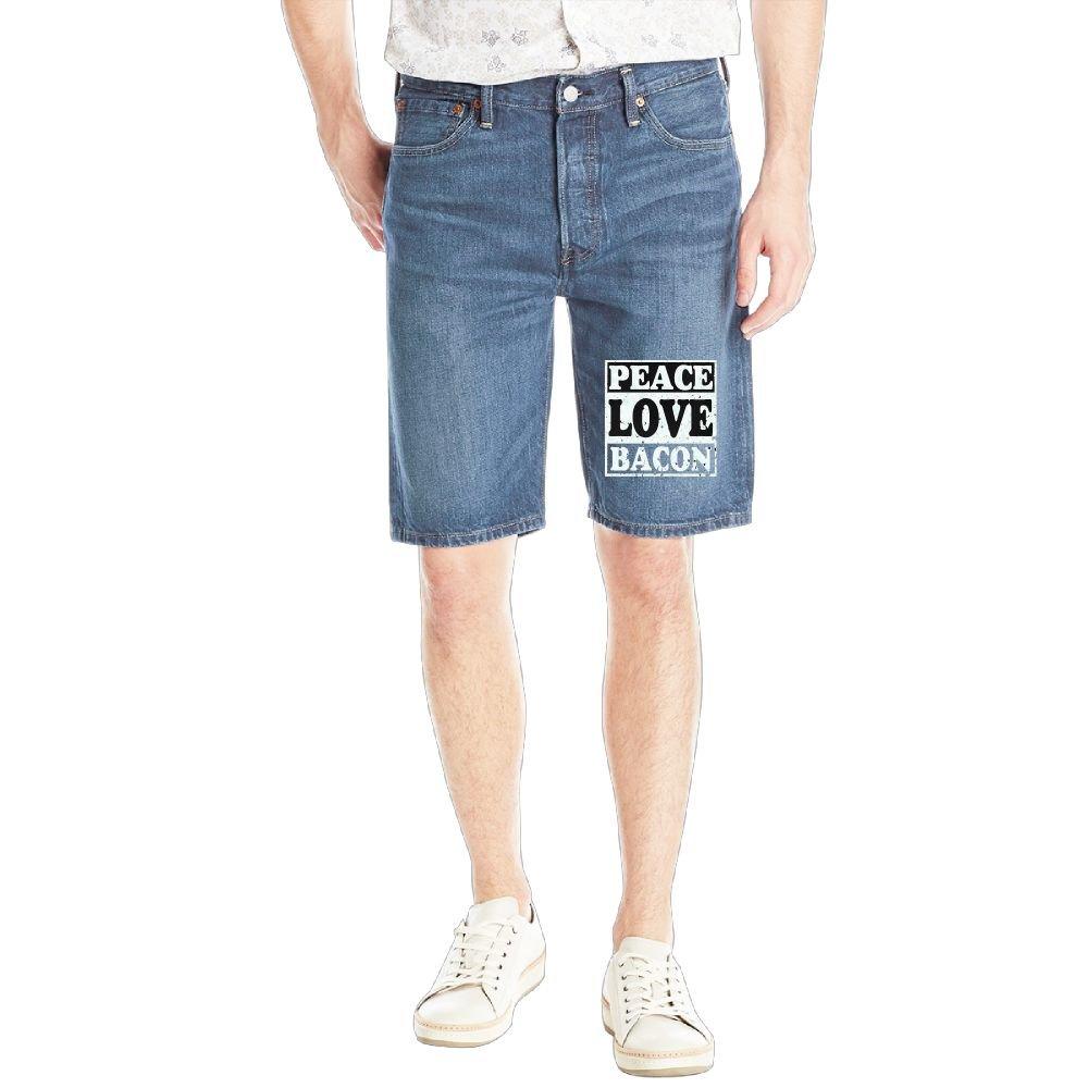 Peace Love Bacon Mens Casual Short Denim Jean Pants Cool Casual Jeans Trousers RoyalBlue