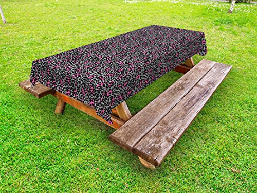 Ambesonne Leopard Print Outdoor Tablecloth, African Safari Animal Pattern Nature Inspired Fashion Cheetah Panther, Decorative Washable Picnic Table Cloth, 58 X 104 inches, Pink Grey Black by Ambesonne