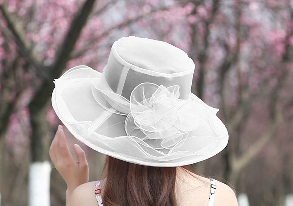 1950s Women's Hat Styles & History Nanxson Ladies Sun Hat Church Wide Brim Vintage Tea Party Wedding Flower Derby Cap $5.69 AT vintagedancer.com