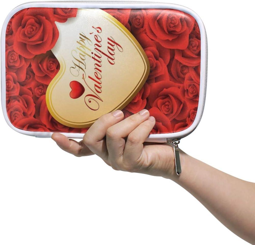 Estuche de lápices Bolso cosmético de cuero Feliz día de San Valentín Rosas Corazón Amor Organizador Gran capacidad para viajes escolares: Amazon.es: Oficina y papelería