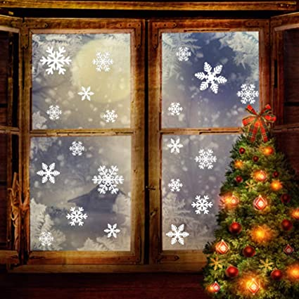 162 Pcs Snowflakes Window Clings White Christmas Stickers Decal Removable Wonderland Decorations Xmas Wall Stencils Door