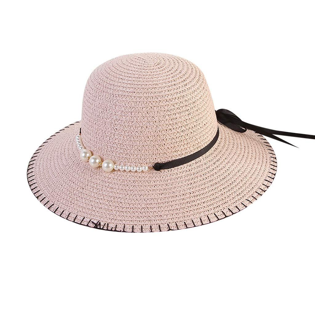 b3e14e563 TOTOD Cap, Elegant Women Beach Straw Hat Jazz Sunshade Panama Pearl ...