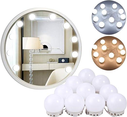 Luz Blanca Fr/ía y Blanca C/álida Justech LED de Espejo de Vanidad Luces de Espejo de Maquillaje Ajustables con USB con 10 Bombillas Regulables para Tocador Herramientas de Iluminaci/ón de Wspejo
