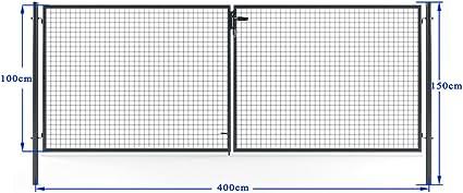 Dimensioni Cancello A Due Ante.Cancello Da Giardino A Due Ante Con Montanti 400 X 150 Cm