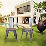 Cheap Metal Stackable Dining Chair with Wood Seat, Indoor/Outdoor Chair, Set of 2, Black