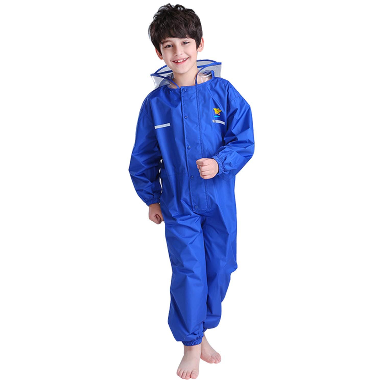 YASSON Regenanzug Wasserdicht Atmungsaktiv Regenbekleidung Mädchen Jungen Wasserdicht Regenjacke Regenhose Overall Raincoat for Kids 2-14Jahre