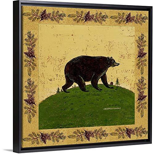 Folk Bear Black Floating Frame Canvas Art, 12