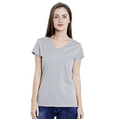 263799d87c4 Supima Cotton Womens T-Shirt Plain Solid Colour Silver  Amazon.in ...