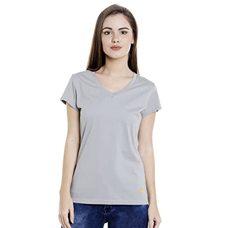5d8f1b8f6 Supima Cotton Womens T-Shirt Plain Solid Colour Silver  Amazon.in  Clothing    Accessories