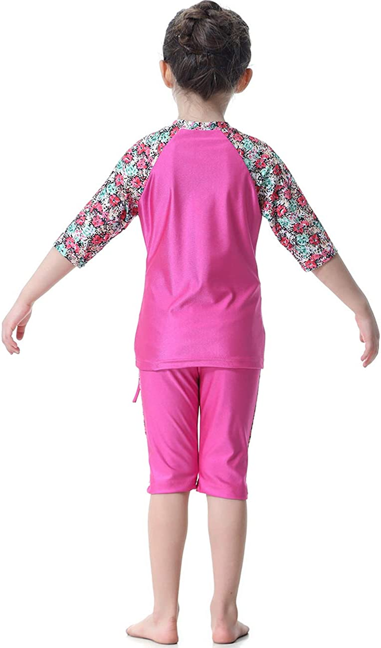 iDrawl Baby Girls Kids Islamic Muslim Floral Printed Swimming Costume Three-Piece Swimsuit Burkini UPF 50 Modest Bathing Suit with Swimming Cap for Age of 1 to 15