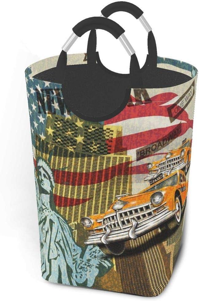 LXJ-CQ Cestas de lavandería Dirty Clothes Pack New York Vintage Poster. Bolsa de Ropa de Tela Plegable Papelera de Lavado