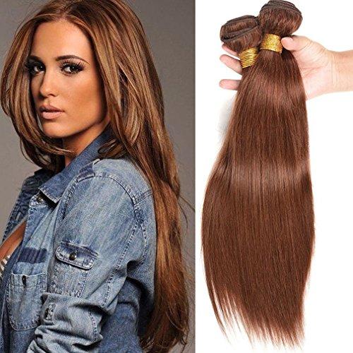 (Fashion Lady Hair 8a Peruvian Straight Hair Weaves 3 PCS/Lot 12 14 16 Inch (Light Brown #4) Peruvian Pure Color Silk Virgin Remy Straight Human Hair Bundles)