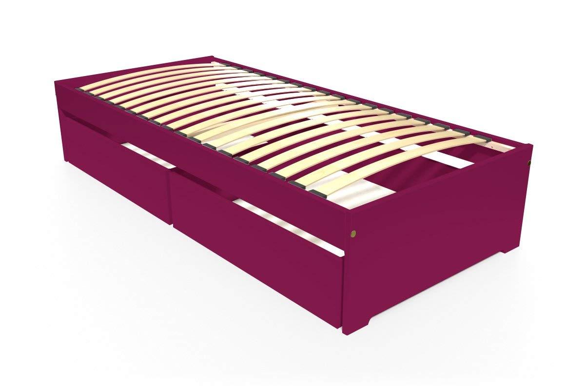 ABC MEUBLES - Einzelbett Malo 90x190 cm + Schubladen - TOPMALO90T - Pflaume, 90x190