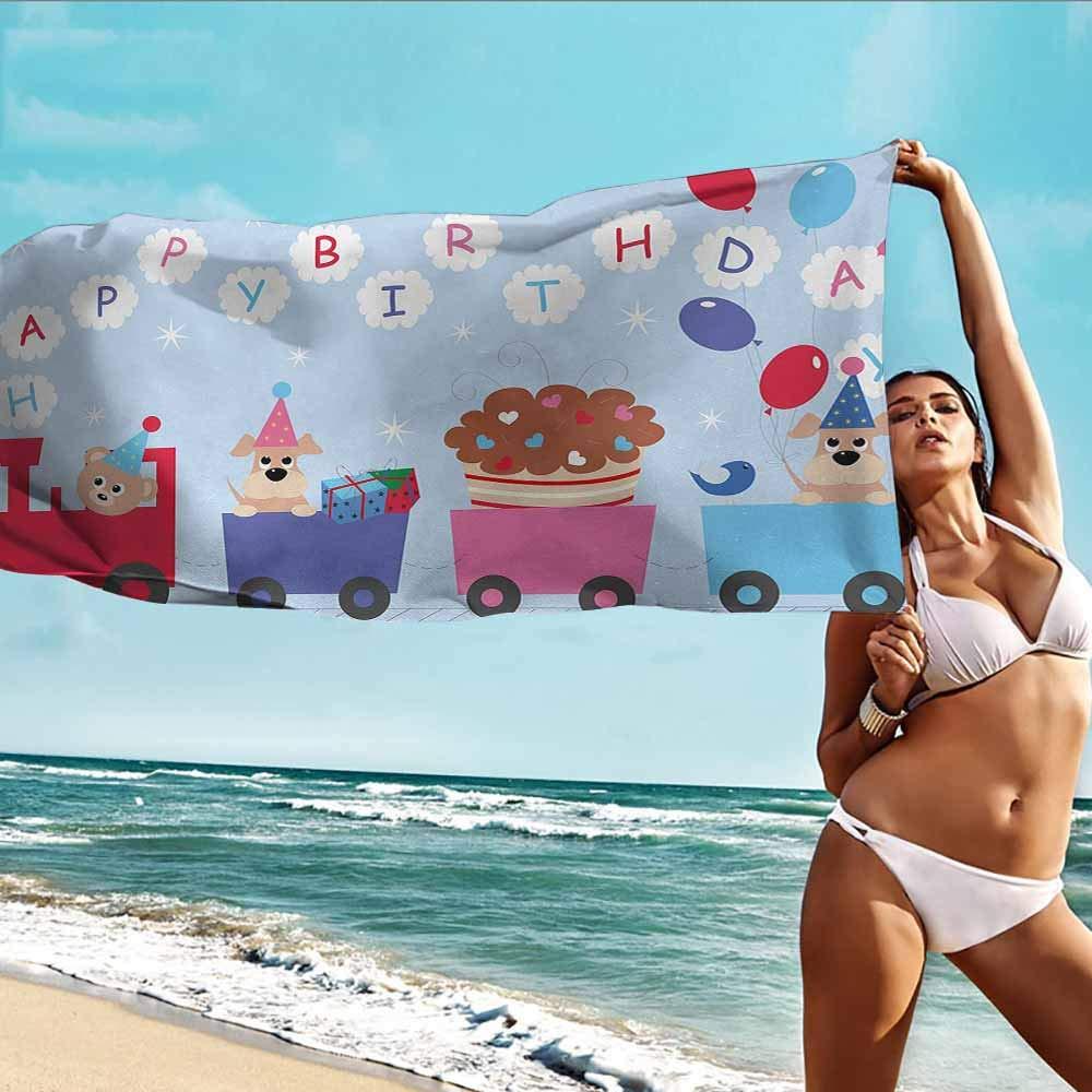 HHDSG Kids Bath Towel,Kids Birthday Celebration Baby Bear Dog in Train Balloons Clouds on Light Blue Backdrop,for Bathroom, Shower Towel, Gym,W63x31L Multicolor