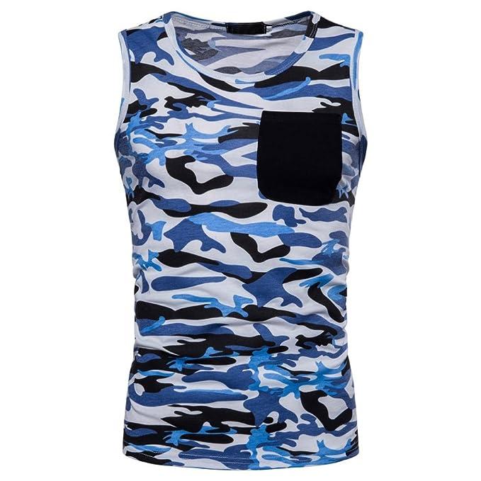 454f9597c77654 Tank Top Herren URSING Männer Casual T-Shirt Camouflage Drucken O Hals  Coole Sommer Tops