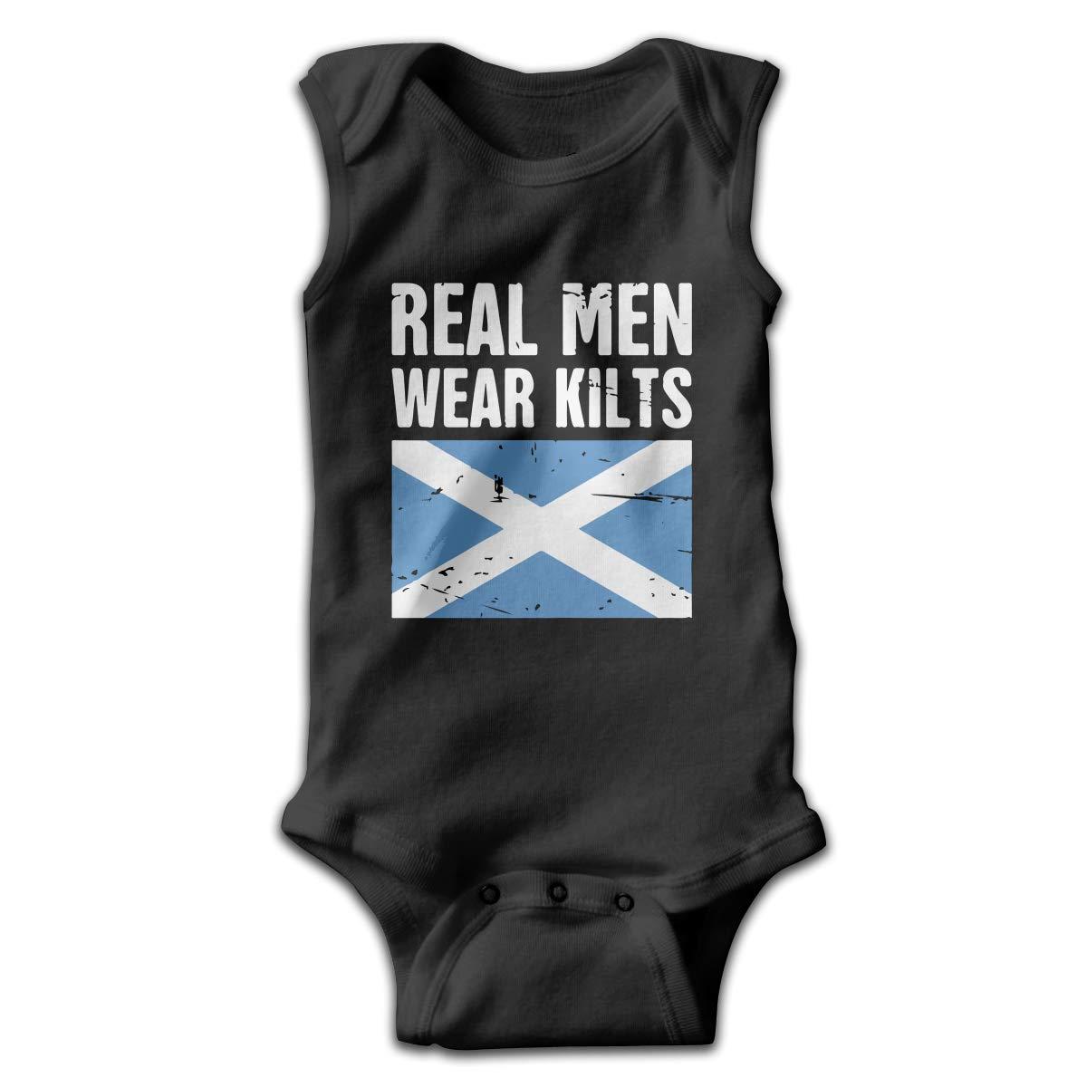 Scottish Flag Real Men Wear Kilts Baby Newborn Crawling Clothes Sleeveless Romper Bodysuit Rompers Jumpsuit