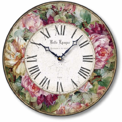 Vintage Victorian Style Roses Clock - floral shabby chic wall clock