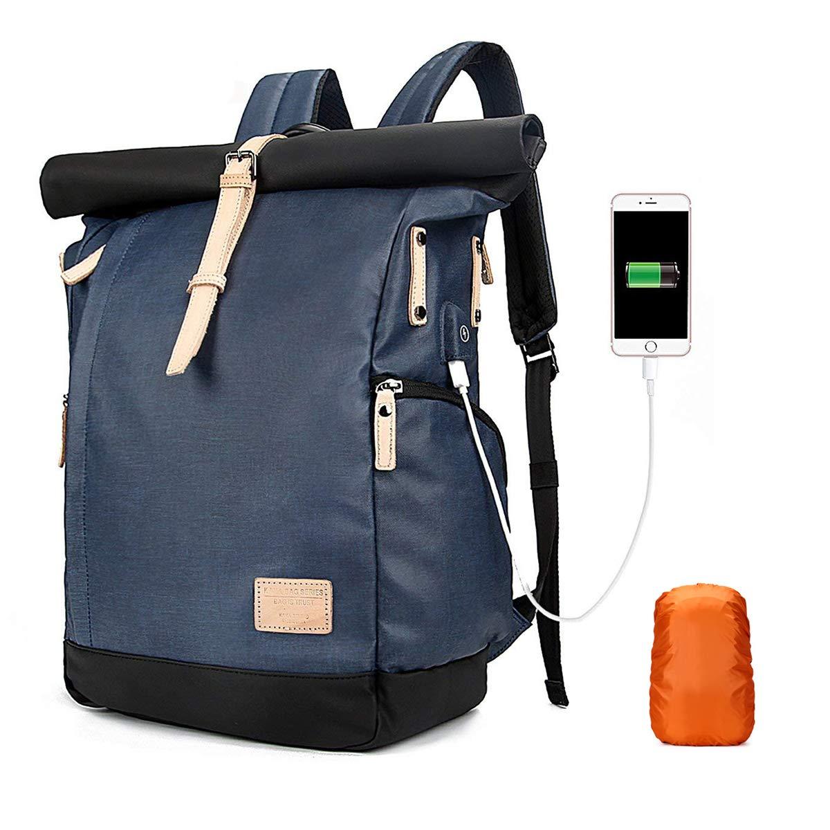 Neusky wasserabweisend Laptoprucksack Kurierrucksack Unirucksack Schuhlrucksack USB Rucksack Backpack + Regenschutz für Damen, Herren (Neu-Grau)