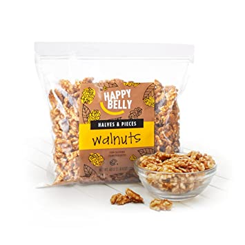 Amazon Brand - Happy Belly California Walnuts, Halves and Pieces, 40 Ounce