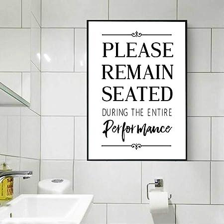 RQJOPE Pintura Arte Lona Divertido baño Cartel Pared Arte ...