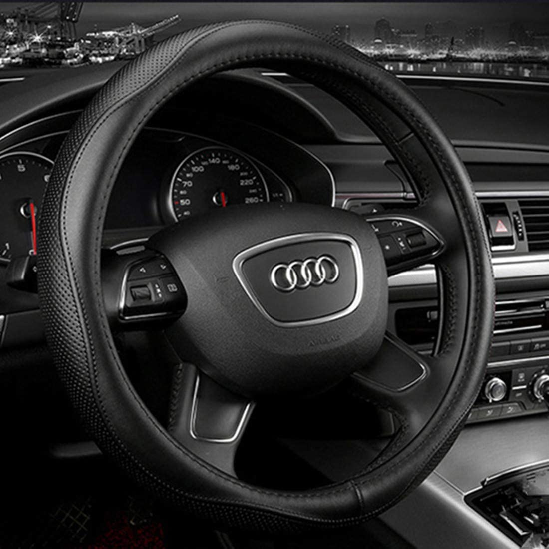 KAFEEK Leather Steering Wheel Cover Black Square Universal 15 inch Anti-Slip