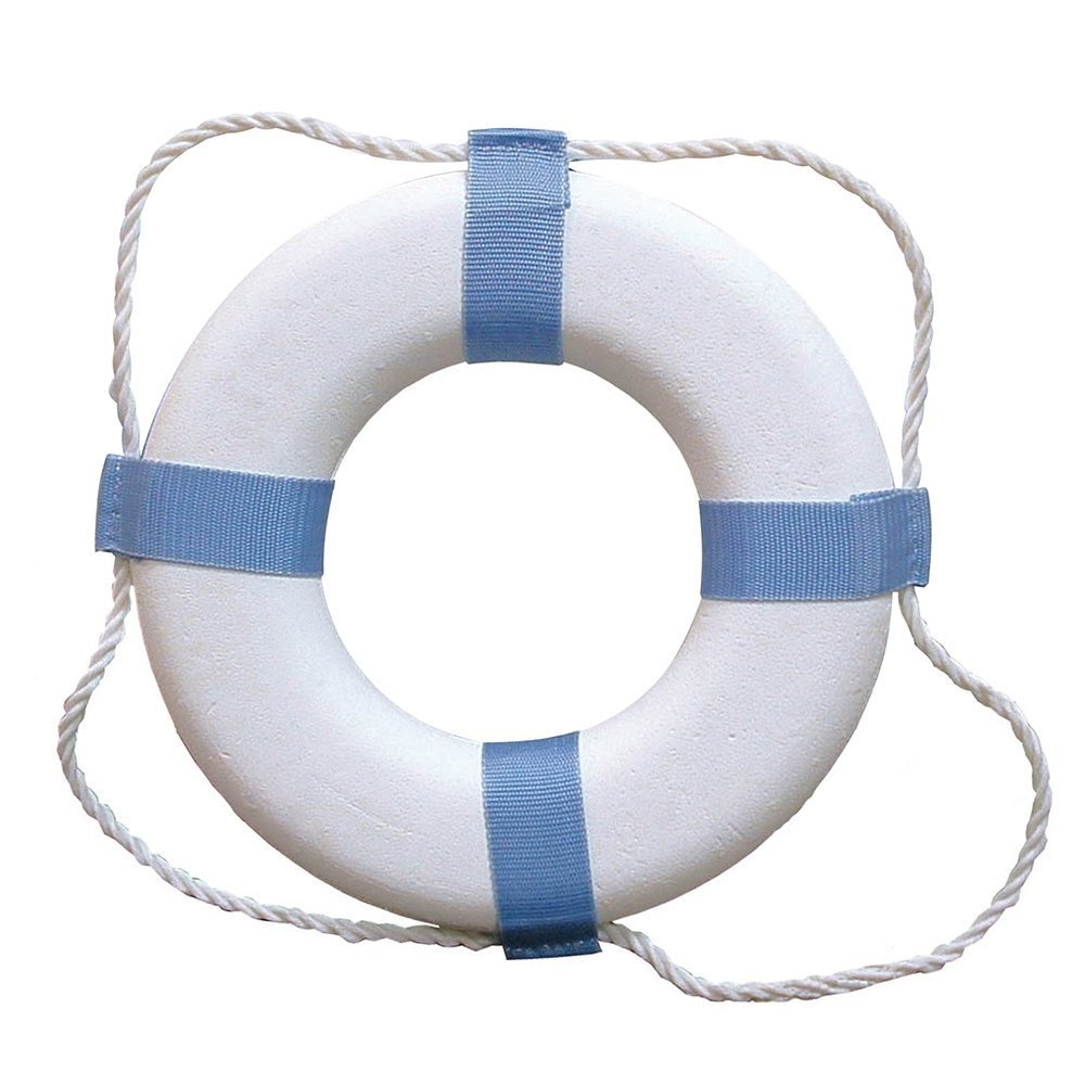MyEasyShopping Decorative Ring Buoy - 17 - White/Blue - Not USCG Approved, Decorative Ring Buoy, Decorative Ring Buoy White Blue Not Uscg Approved