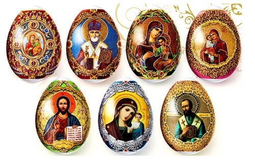 Religious Gifts Decorative Egg Wraps Russian Icons 7 Pcs in ()