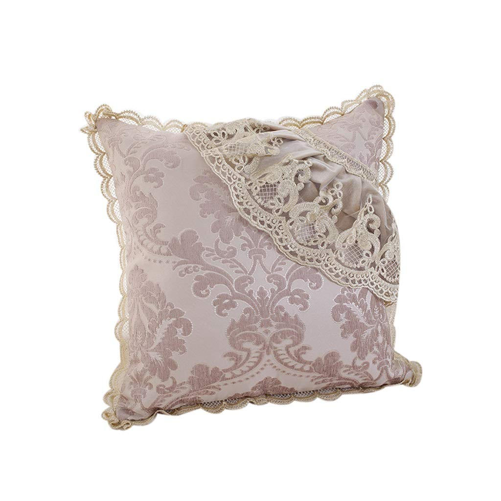 Throw Pillows Pillow Cushion Pink Pillow Cushion Square Pillow Sofa Cushion Pillow Case Fashion Pillow Core Bed Office Backrest Pad Premium Lace (Color : Pink, Size : 505010cm)