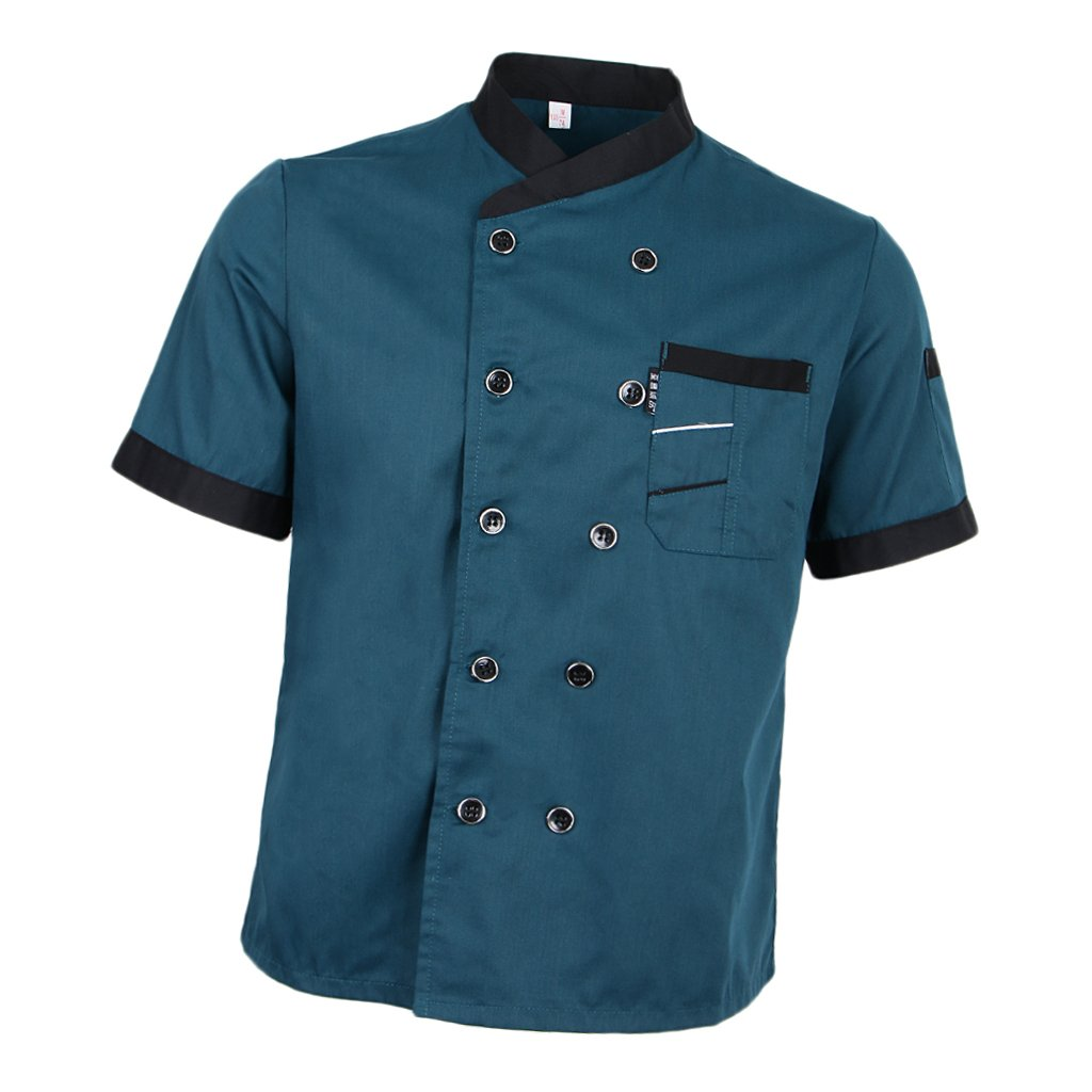 Prettyia Unisex Summer Breathable Executive Chef Jacket Coat Kitchen Bakery Uniform Short Sleeves 5 Colors Chef Apparel M-2XL - Blue, 2XL