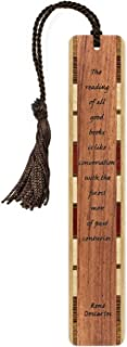 product image for Rene' Descartes Good Books Quote (Bubinga) Engraved Wooden Bookmark with Tassel - Search B079F5ZFHS for Personalized Version