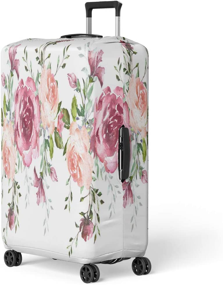 Pinbeam Luggage Cover Floral in Vintage Various Leaves of Ferns Blackberry Travel Suitcase Cover Protector Baggage Case Fits 18-22 inches