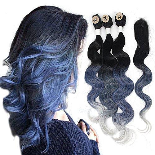 YXCHERISHAIR Brazilian Natural Wave 3 Bundles with Lace Closure,Ombre Synthetic Body Wave Hair Extensions Multi Color,100% Kanekalon Japanese Fiber Heat Resistance (#Ombre Blue)