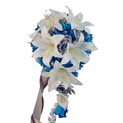 Amazon cascade wedding bouquet turquoise malibu white cascade wedding bouquet turquoise malibu white silver silk flowers mightylinksfo