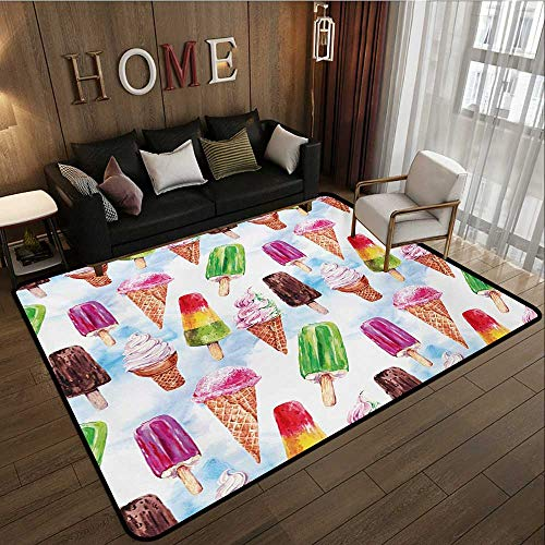 Household Decorative Floor mat,Surreal Exotic Type Ice Cream Motif with Raspberry Kiwi Flavor Colorful Display 6'6''x8',Can be Used for Floor Decoration by BarronTextile (Image #1)
