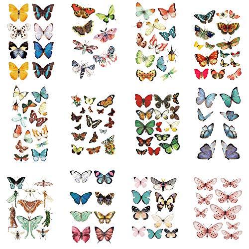 WYUEN 12 PCS/lot Butterfly Temporary Tattoo Sticker for Women Men Body Art Adults Waterproof Hand Fake Tatoo 9.8X6cm (FW12-38A)