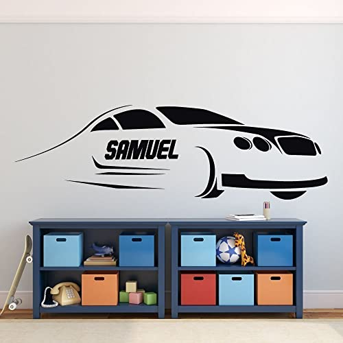 Personalized Race Car Wall Decor - Custom Name Vinyl Decal for Boy\'s  Bedroom, Playroom, or Gameroom - Baby Shower or Birthday Gift