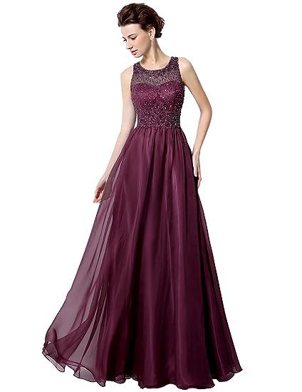 Sarahbridal Womens Long Chiffon Beaded Evening Prom Dresses A-line Wedding Formal Dress SLX021 Burgundy