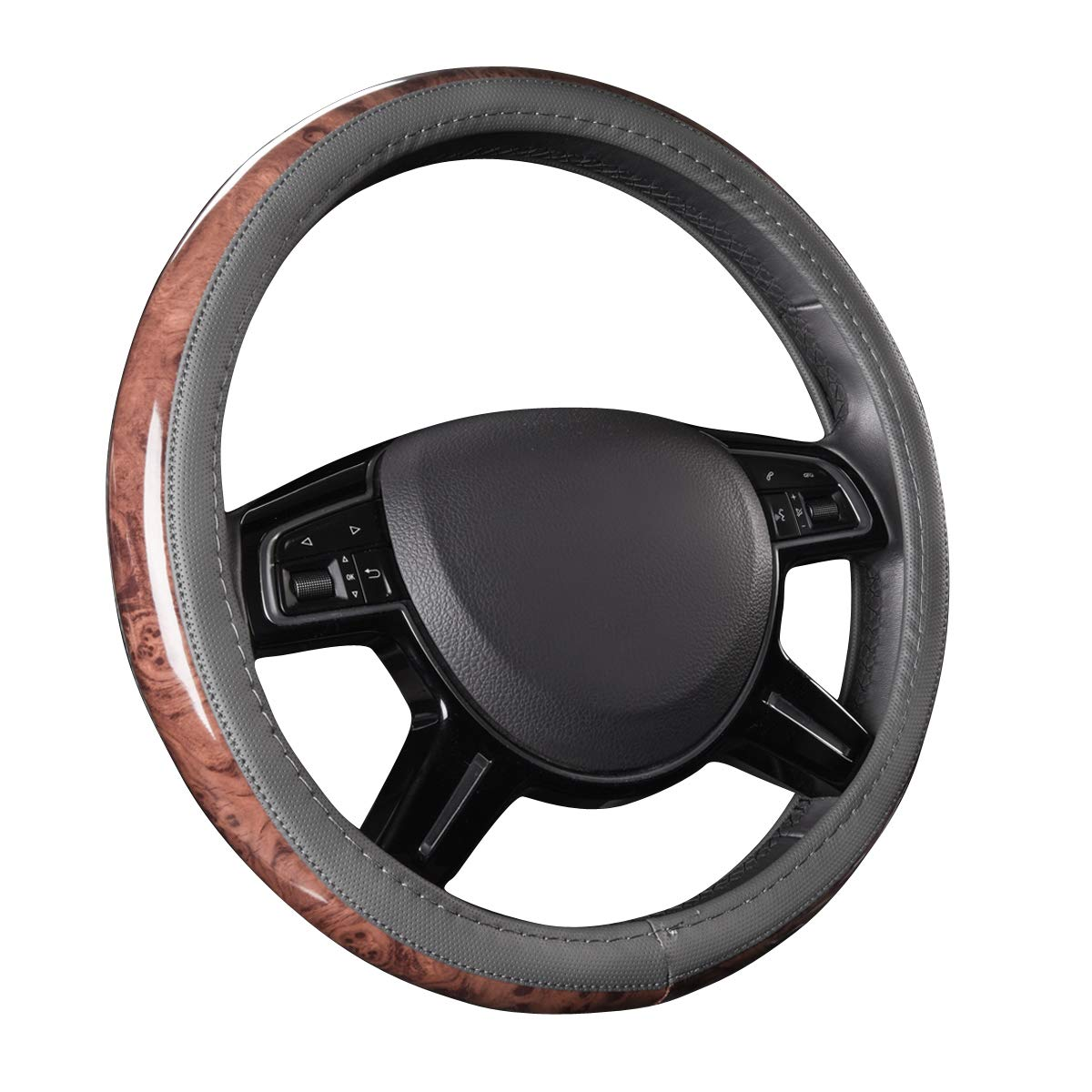 CAR PASS Universal Fit Full Wood Grain Leather Steering Wheel Covers Fit for Suvs,Trucks,Sedans, Anti-Slip Design …(Gray)